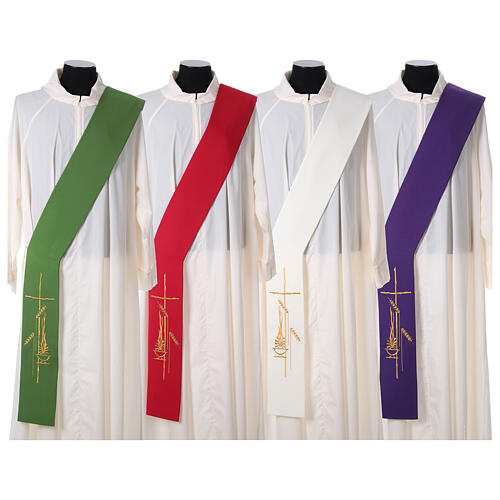 Diaconal stole in polyester with lamp, cross, ear of wheat embro 1
