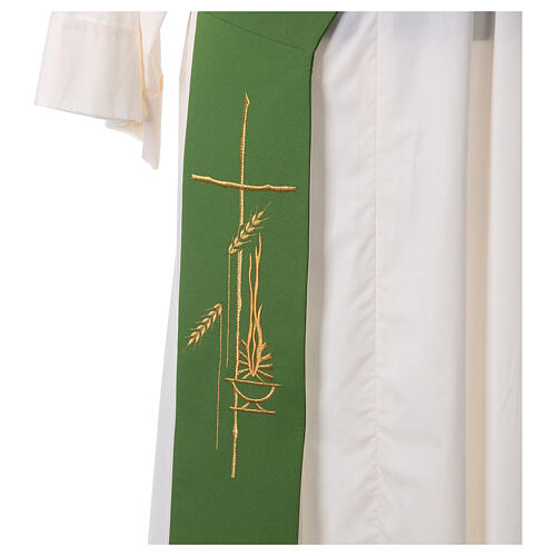 Diaconal stole in polyester with lamp, cross, ear of wheat embro 2