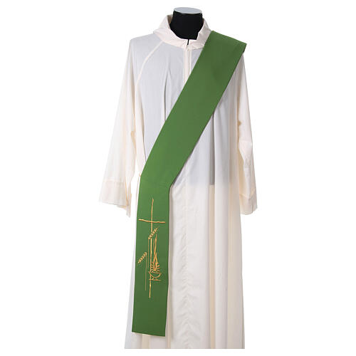 Diaconal stole in polyester with lamp, cross, ear of wheat embro 3