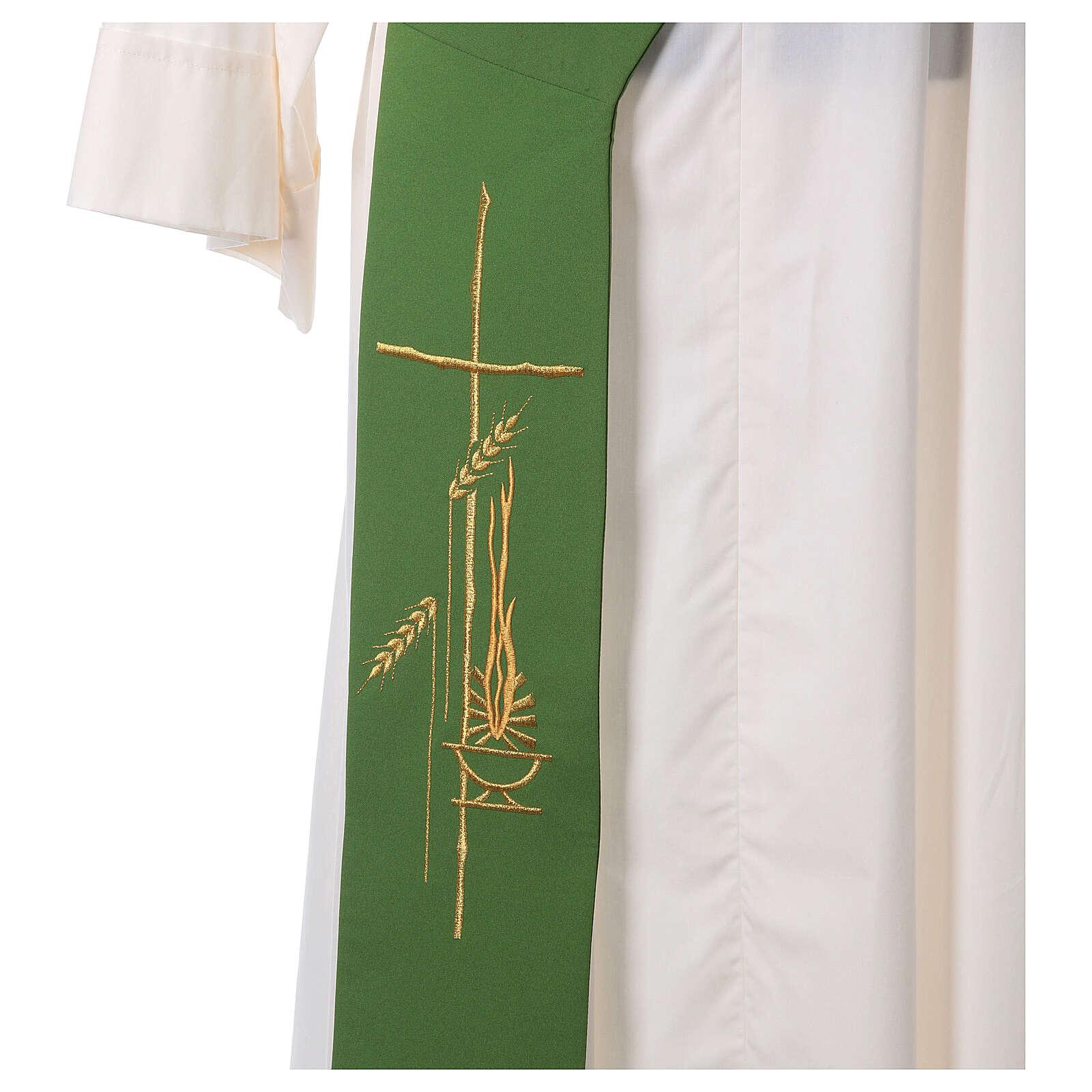 Stola diaconale 100% poliestere lampada croce spighe 4