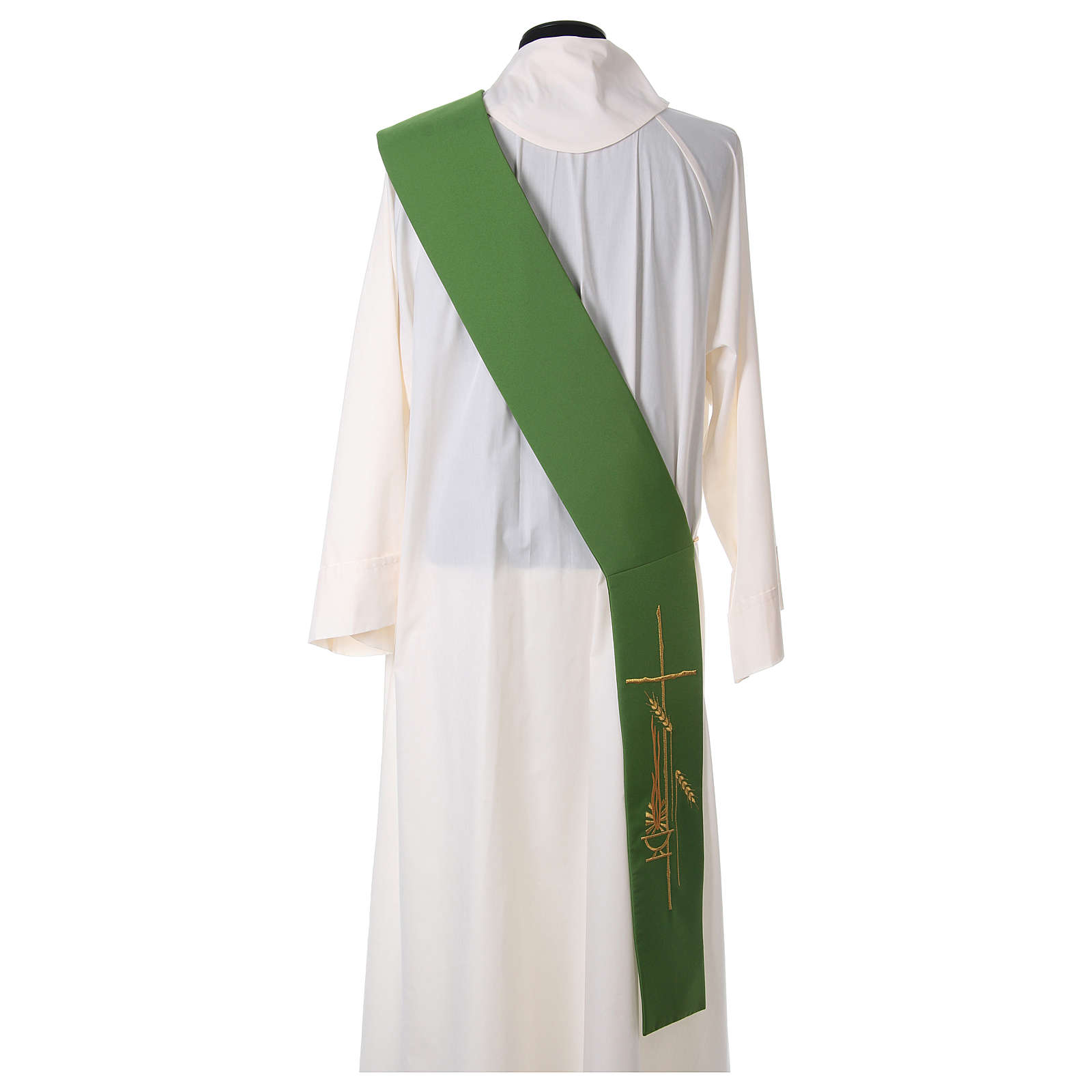 Stole for Deacon in polyester with lamp, cross, ear of wheat embroidery 4