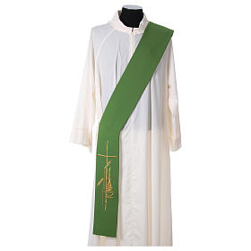 Stole for Deacon in polyester with lamp, cross, ear of wheat embroidery s1