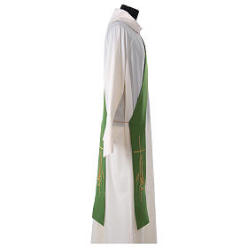 Stole for Deacon in polyester with lamp, cross, ear of wheat embroidery s3
