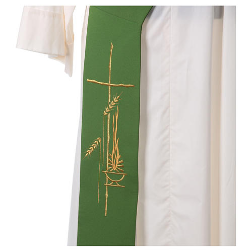 Stole for Deacon in polyester with lamp, cross, ear of wheat embroidery 2