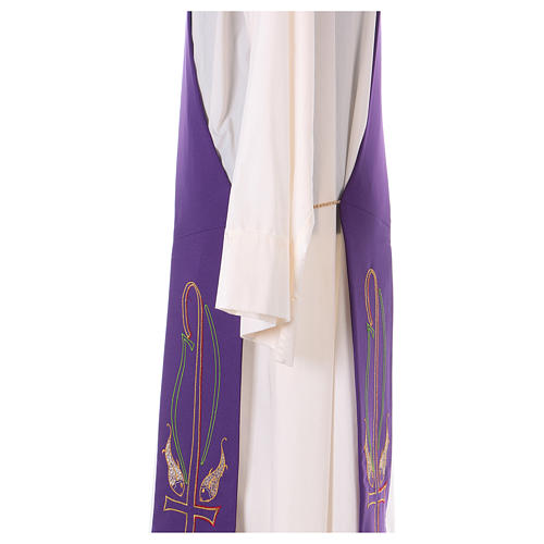 Diaconal stole in polyester with fish embroidery 4