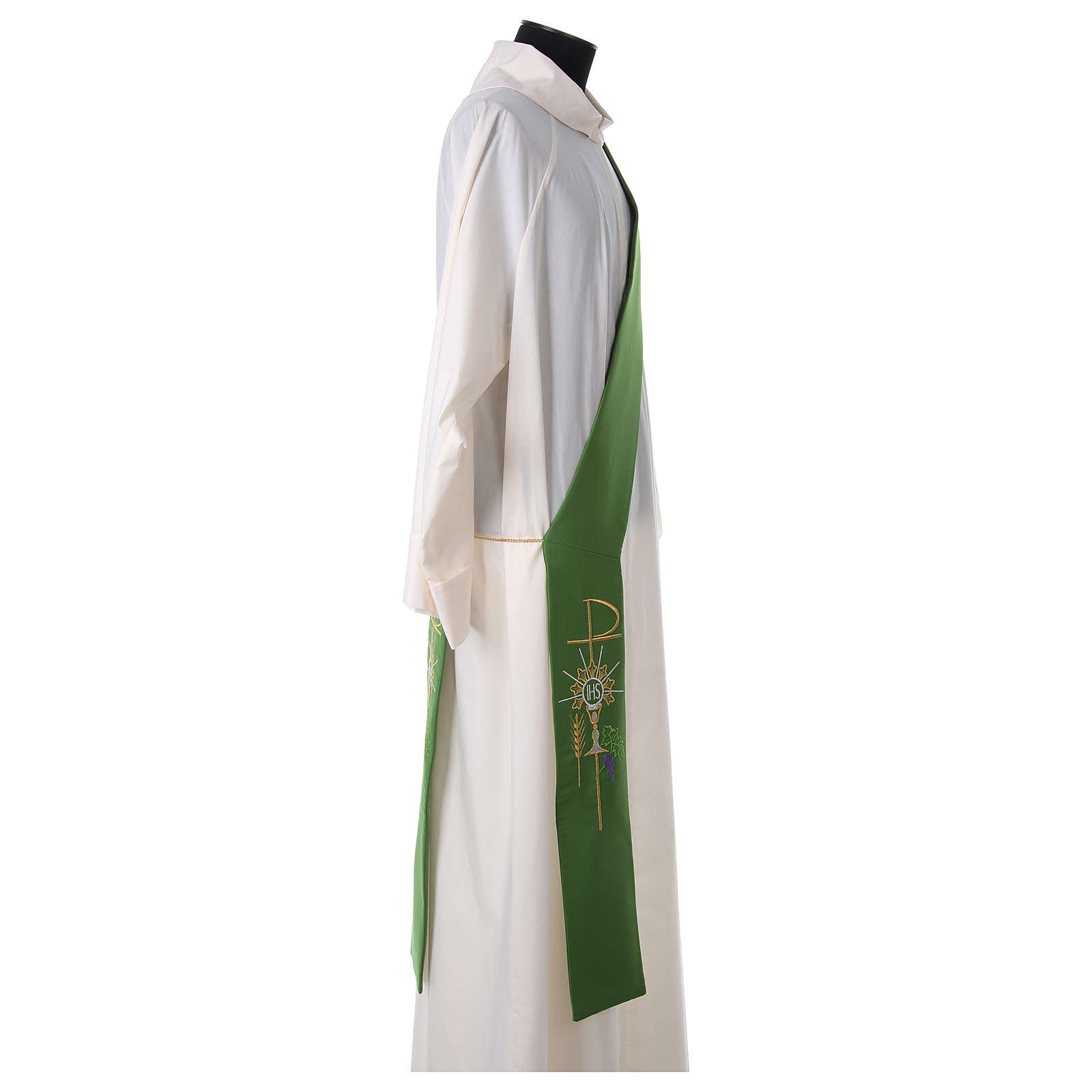 Diaconal stole in polyester with chalice, host and grapes 4