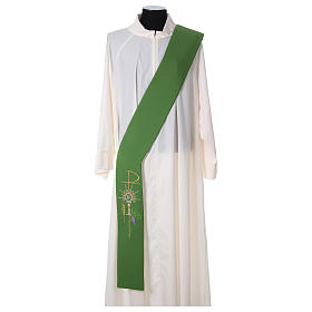 Diaconal stole in polyester with chalice, host and grapes s1