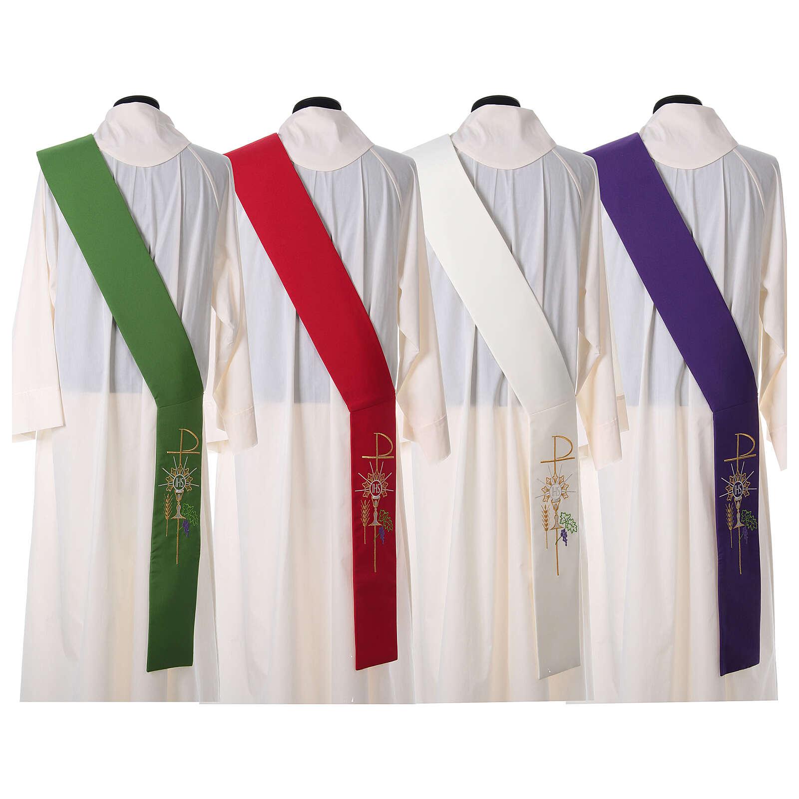 Stola diaconale 100% poliestere calice ostia uva 4
