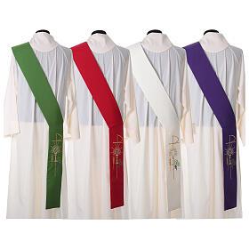 Stola diaconale 100% poliestere calice ostia uva s7