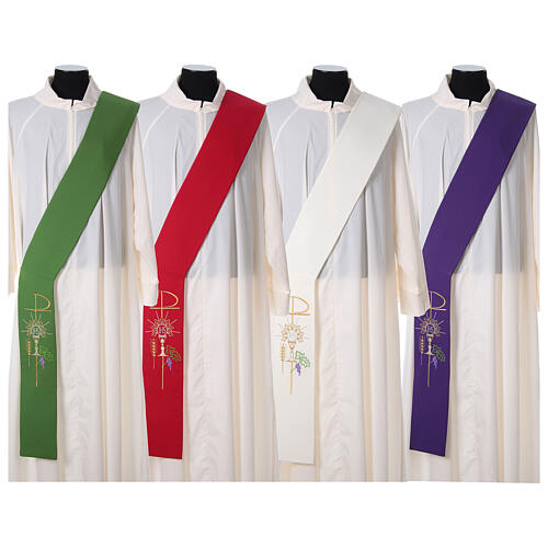 Stola diaconale 100% poliestere calice ostia uva 1