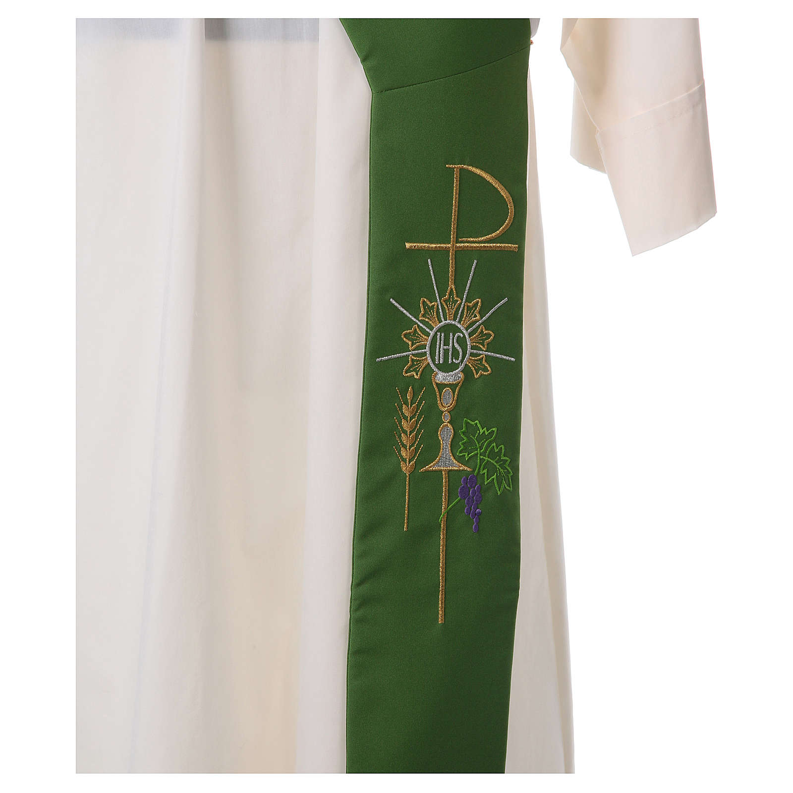 Deacon Stole in polyester with chalice, host and grapes 4