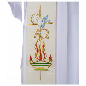 Diaconal stole in 100% polyester, lamp, Alpha and Omega s2