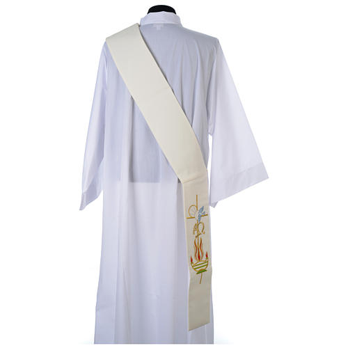 Diaconal stole in 100% polyester, lamp, Alpha and Omega 3