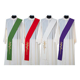 Diaconal stole in 100% polyester, cross and ears of wheat s1