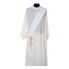Diaconal stole in 100% polyester, cross and ears of wheat s4
