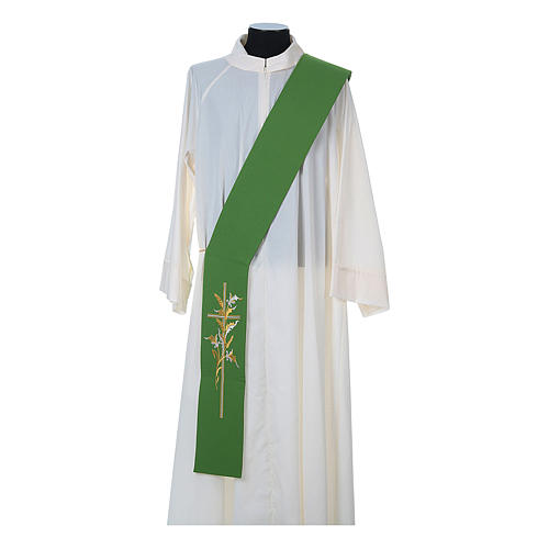 Diaconal stole in 100% polyester, cross and ears of wheat 2