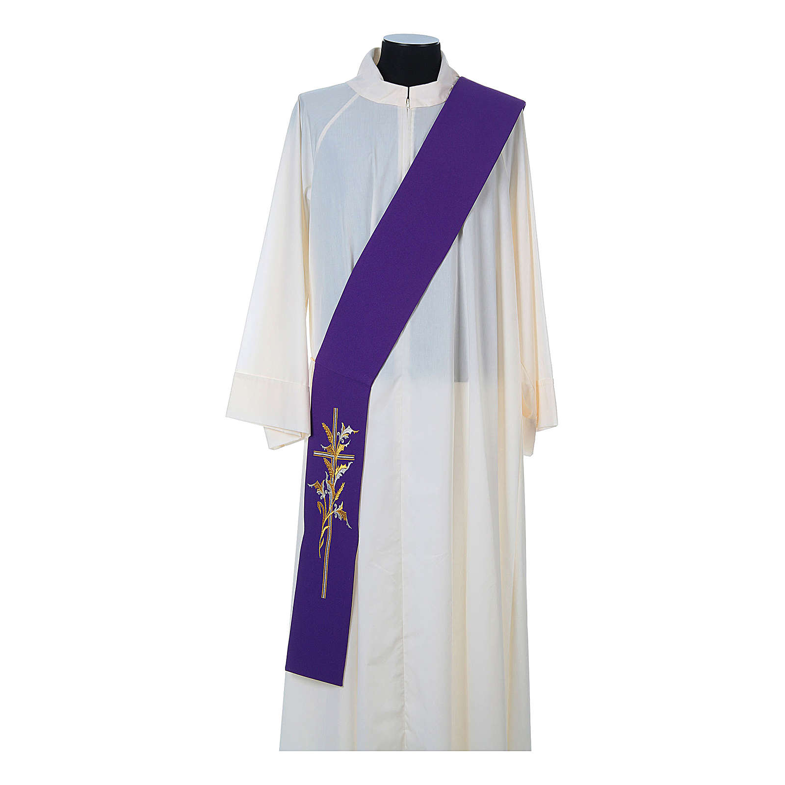 Deacon Stole in 100% polyester, cross and ears of wheat 4
