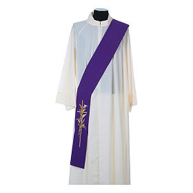 Deacon Stole in 100% polyester, cross and ears of wheat s5