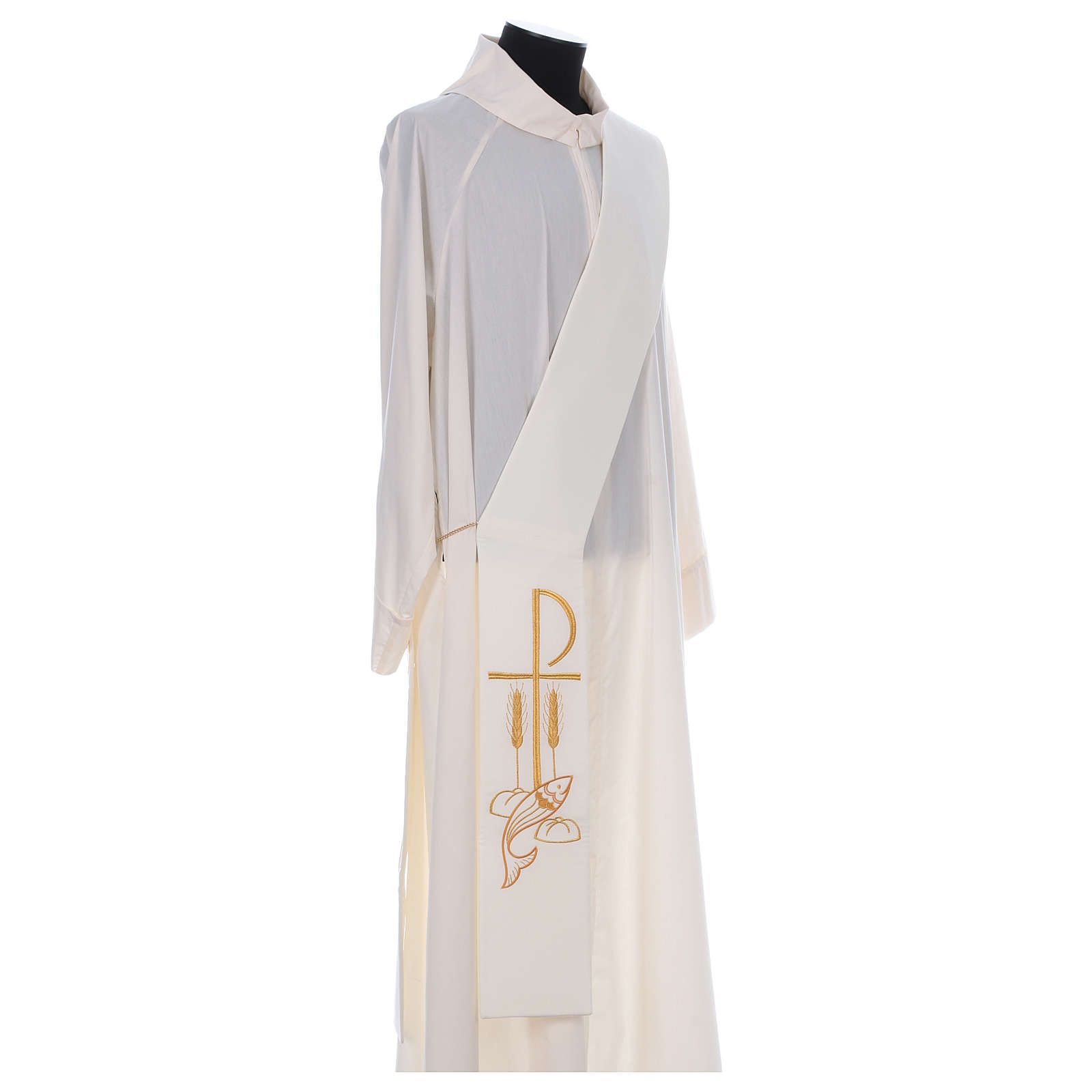 Diaconal stole in polyester with Fish and Loaves and Chi-rho 4
