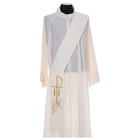 Diaconal stole in polyester with Fish and Loaves and Chi-rho s1