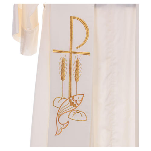 Diaconal stole in polyester with Fish and Loaves and Chi-rho 2
