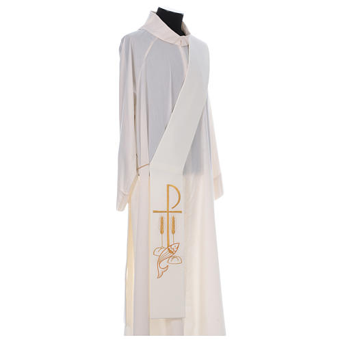 Diaconal stole in polyester with Fish and Loaves and Chi-rho 3