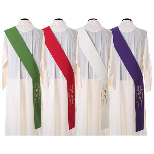 Deacon Stole in polyester with Alpha and Omega 9