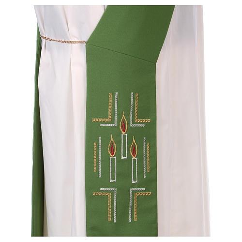 Diaconal stole in polyester with candles embroidery 2
