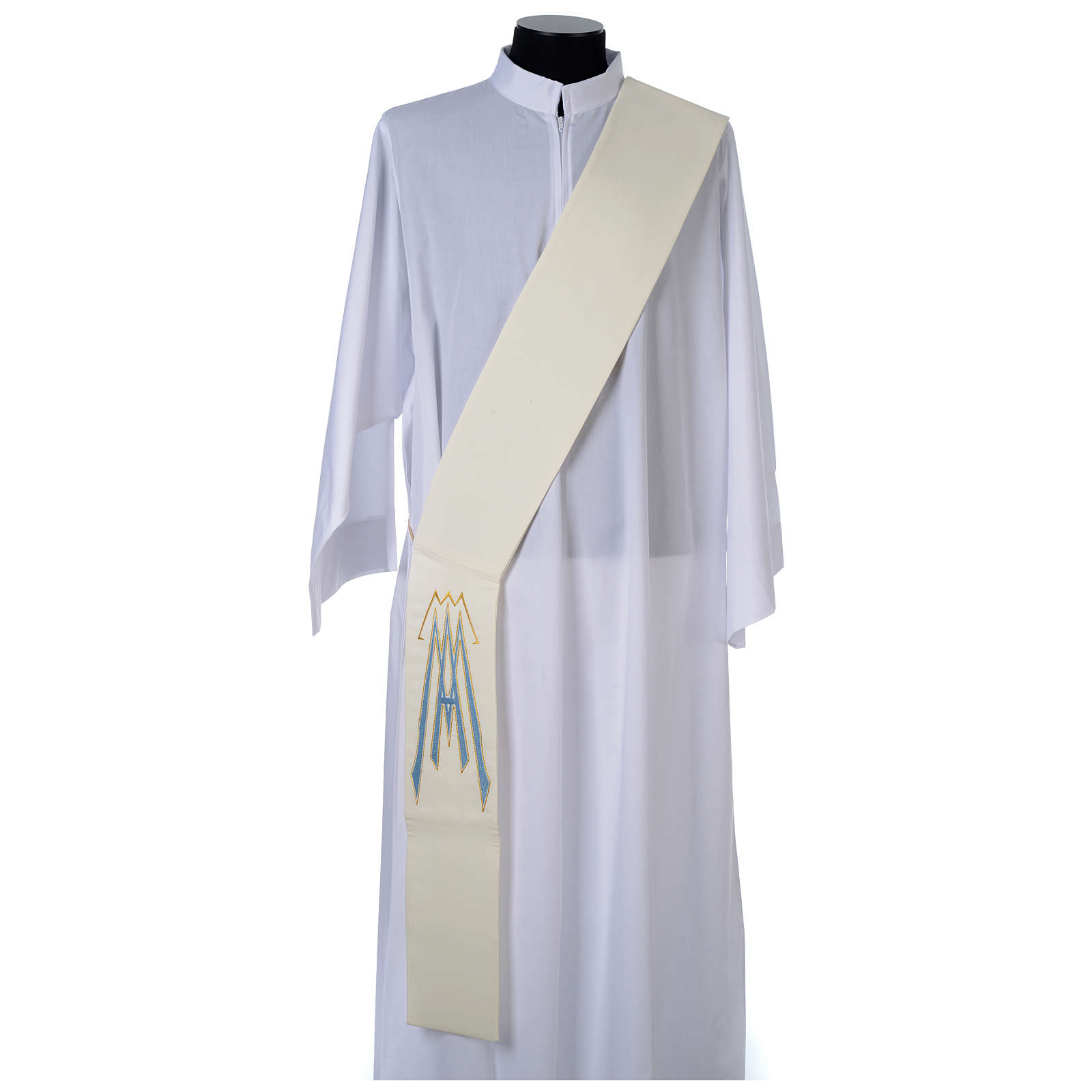 Diaconal stole in polyester with Marian symbol 4