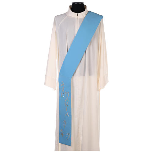 Diaconal stole in polyester with Marian symbol 6