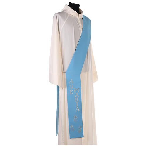 Diaconal stole in polyester with Marian symbol 8