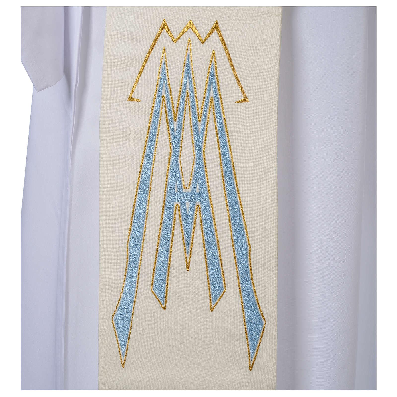 Stola da diacono 100% poliestere simbolo mariano 4
