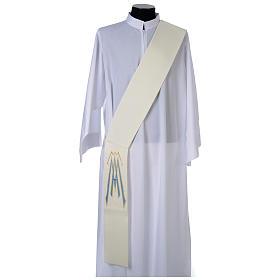 Stola da diacono 100% poliestere simbolo mariano s1