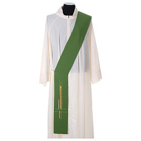Diaconal stole in polyester, cross and ear of wheat embroidery s1