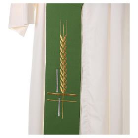 Diaconal stole in polyester, cross and ear of wheat embroidery s2