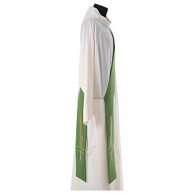 Diaconal stole in polyester, cross and ear of wheat embroidery s3