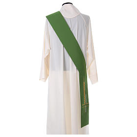 Diaconal stole in polyester, cross and ear of wheat embroidery s4