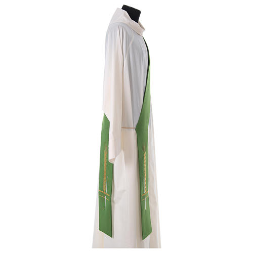 Diaconal stole in polyester, cross and ear of wheat embroidery 3