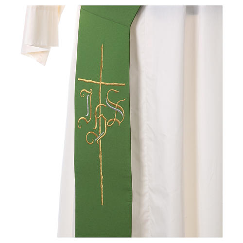 Estola diaconal cruz IHS 100% poliéster 2