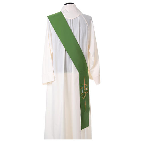Estola diaconal cruz IHS 100% poliéster 4