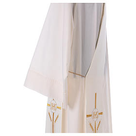 Diaconal stole in polyester with cross, ear of wheat and IHS sym s4