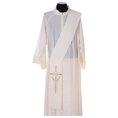 Diaconal stole in polyester with cross, ear of wheat and IHS sym 1