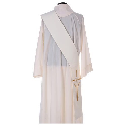 Diaconal stole in polyester with cross, ear of wheat and IHS sym 3