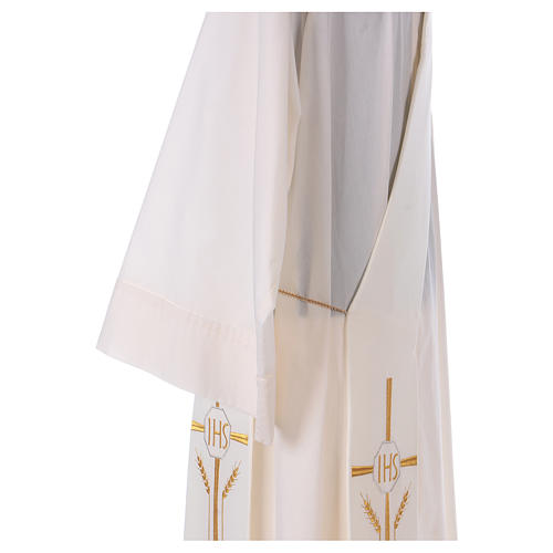 Diaconal stole in polyester with cross, ear of wheat and IHS sym 4