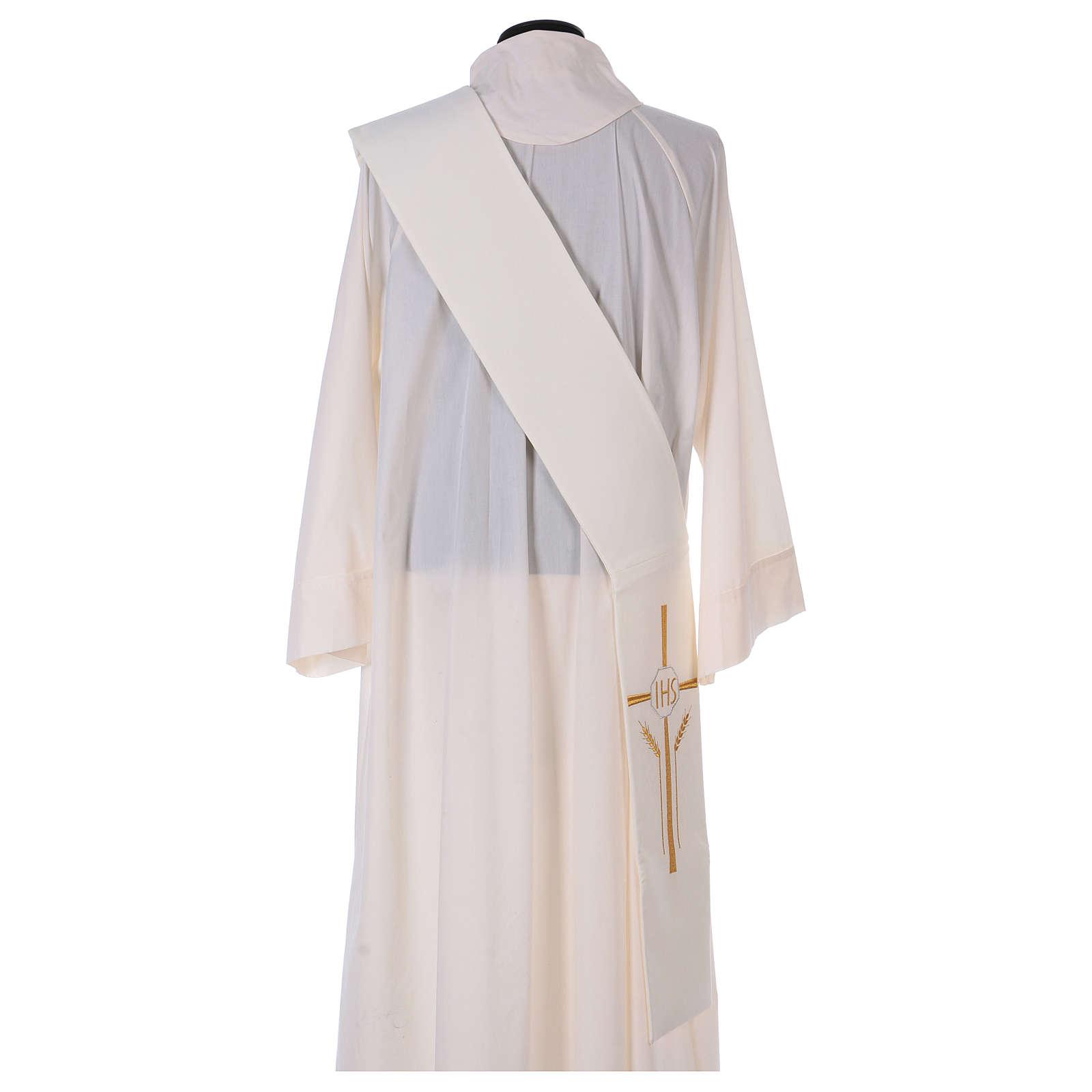 Etole pour diacre épis croix IHS 100% polyester 4