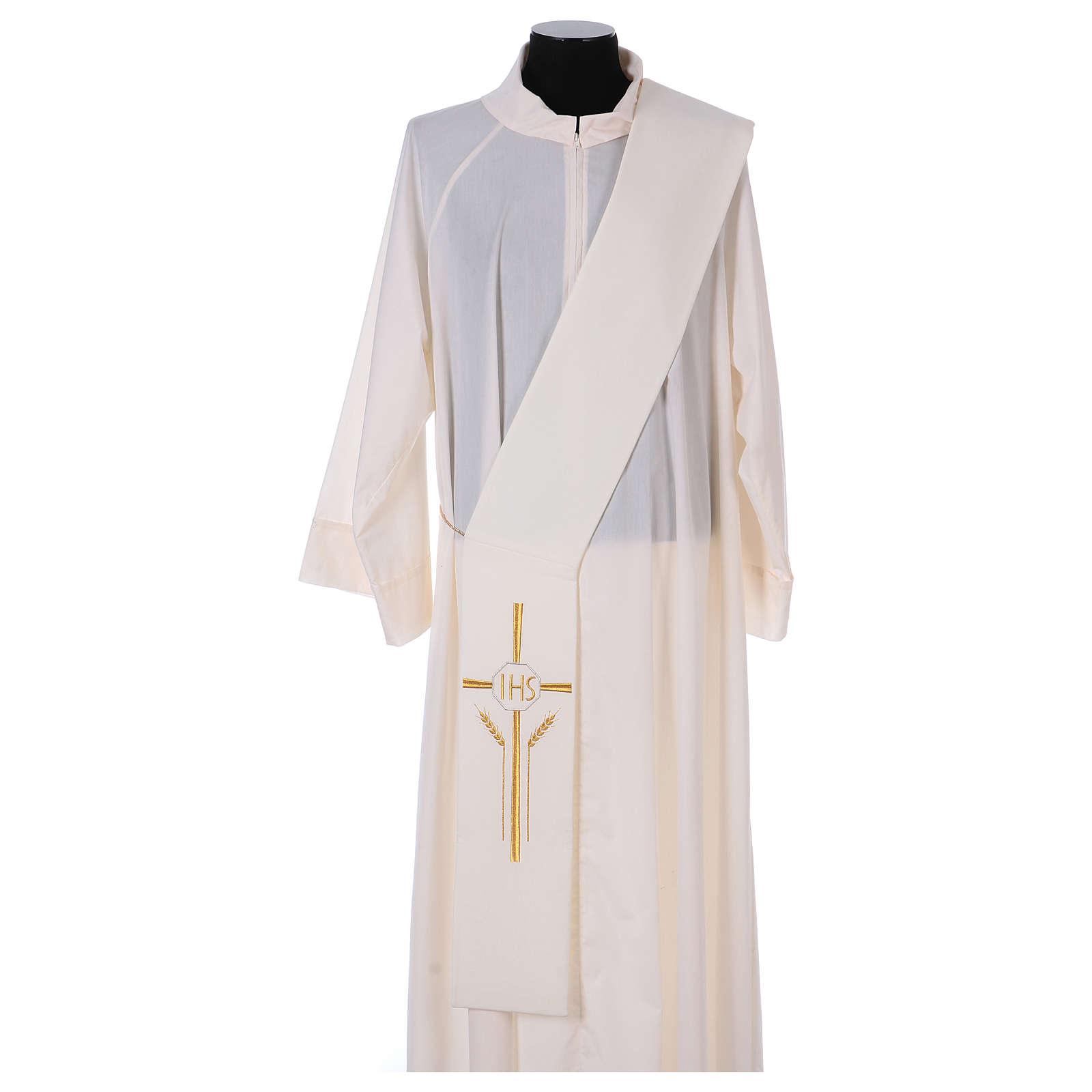 Stuła dla diakona krzyż kłosy IHS 100% poliester 4