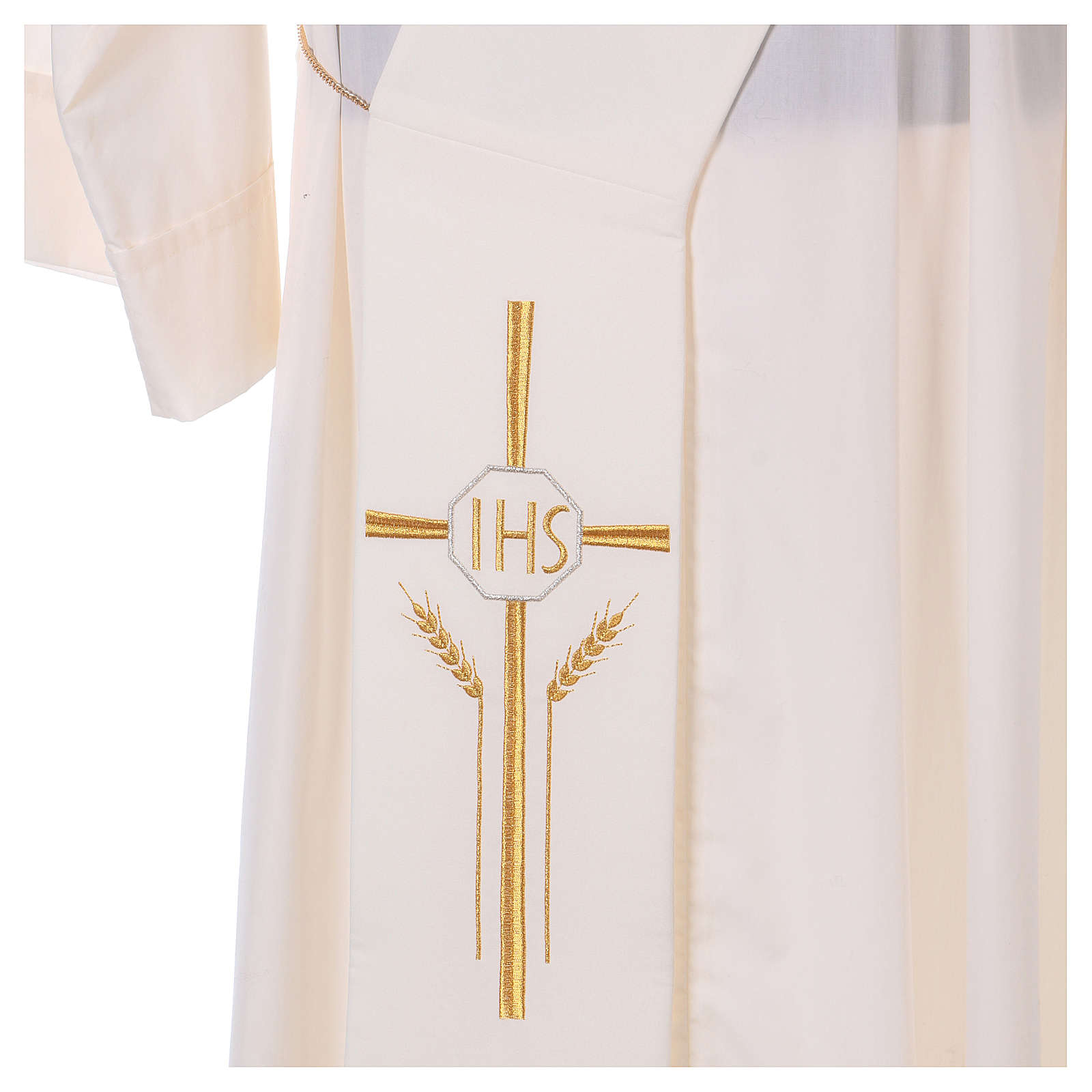 Deacon Stole in polyester with cross, ear of wheat and IHS sym 4