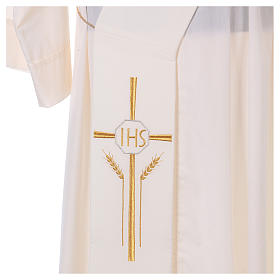 Deacon Stole in polyester with cross, ear of wheat and IHS sym s2