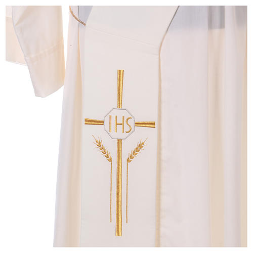 Deacon Stole in polyester with cross, ear of wheat and IHS sym 2
