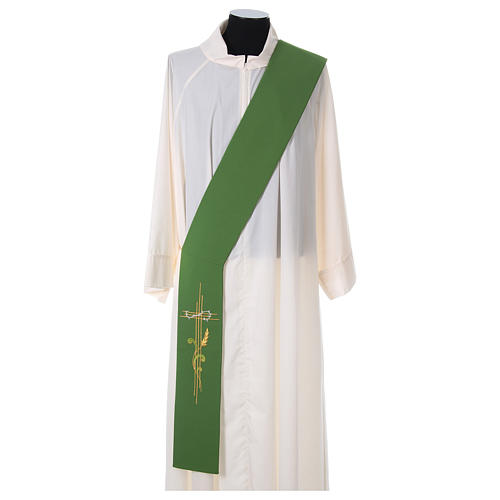 Diaconal stole in polyester with cross and ear of wheat symbols 1